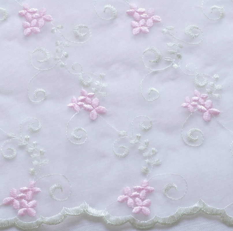 53 Quot Shabby Embroidered Organza Lace Fabric Per Yard Ebay