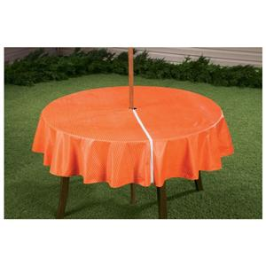 Zippered Orange Striped Vinyl Table Cover 70 Quot Round