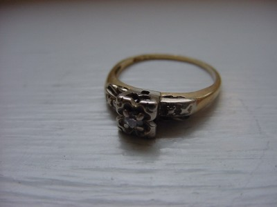 Antique 14k Solid Yellow & White Gold Diamond Ring Euro
