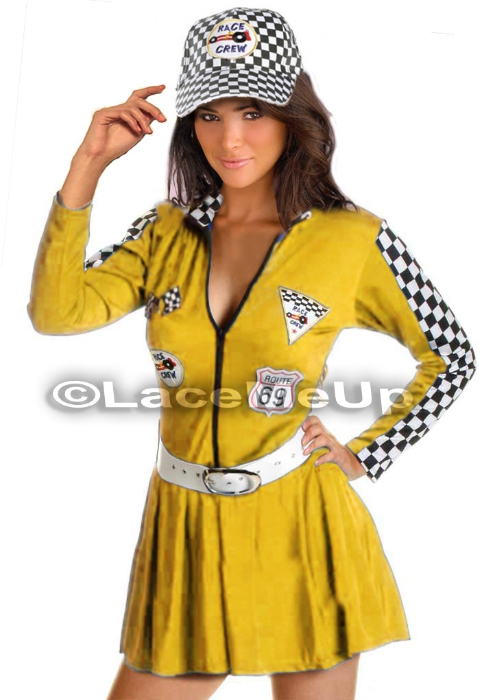 indy racer grid girl costume fancy dress up outfit cap. Black Bedroom Furniture Sets. Home Design Ideas