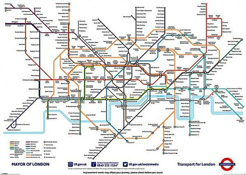 GIANT POSTER (140cm x 100cm) LONDON UNDERGROUND MAP