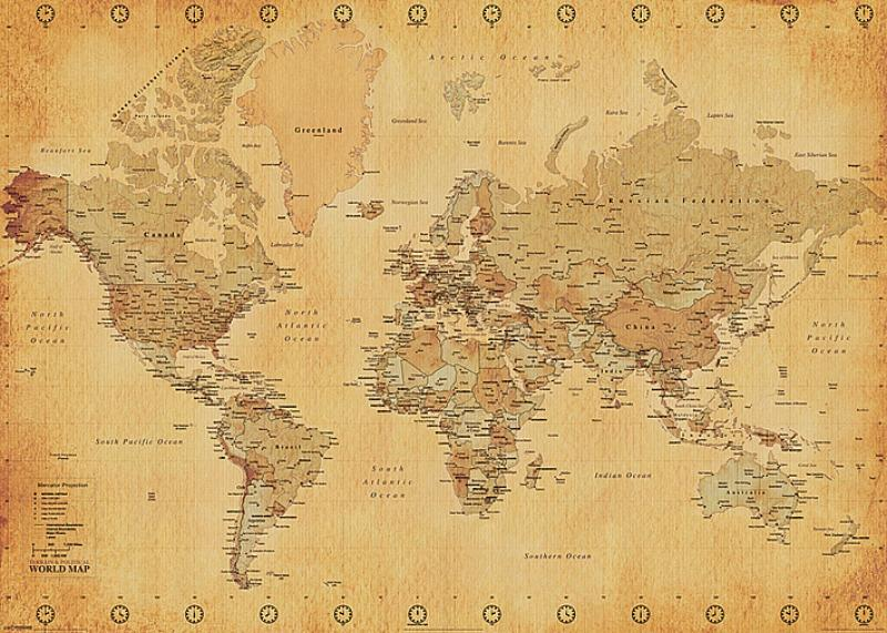 GIANT POSTER (140CM X 100CM) - WORLD MAP : VINTAGE STYLE - Poster / Display