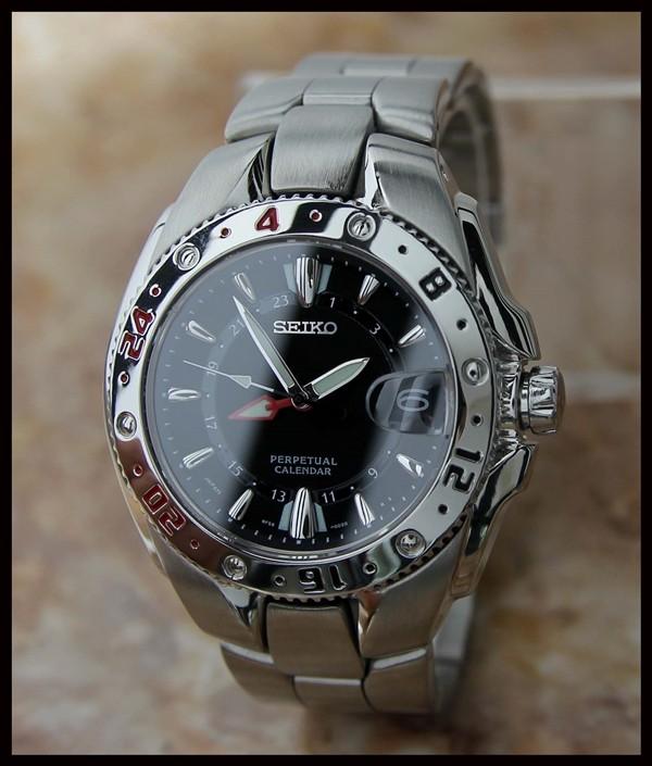 authentic seiko perpetual calendar 8f56 002 gmt mens watch 42mm c 2002 ebay
