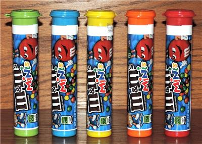 "2018 5-M/&M/'s MINIS EMPTY 3-7//8/"" STORAGE CANDY TUBES-RED BLUE ORANGE GREEN YELLOW"