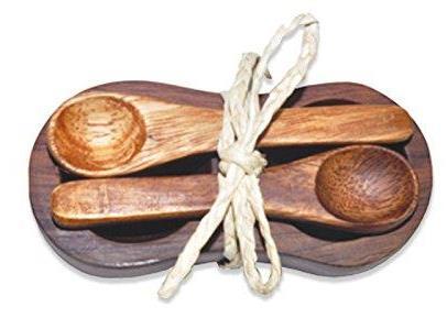 Pacific Merchants Acacia Wood Double Salt Spice Bowl