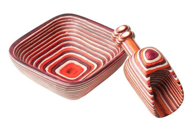 Island Bamboo Red Pakkawood Square Wooden Pinch Bowl With