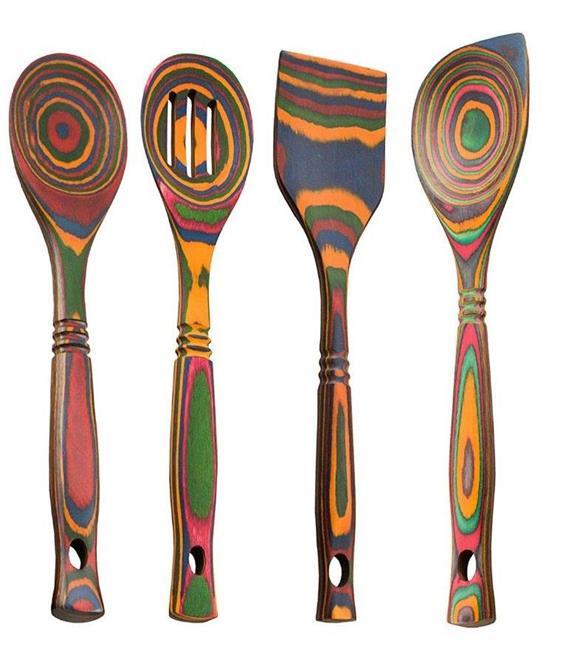 Island Bamboo 12 Rainbow Pakkawood Wooden Spoon Spatula 4pc Utensil Set 96444414282 Ebay