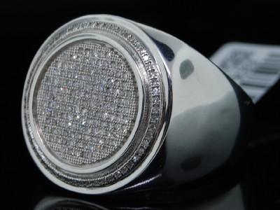 MENS WHITE GOLD FINISH WHITE PAVE DIAMOND PINKY RING