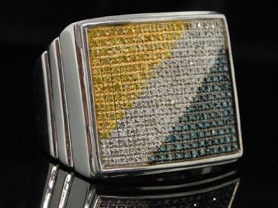 MENS WHITE GOLD FINISH PAVE DIAMOND PINKY BAND RING