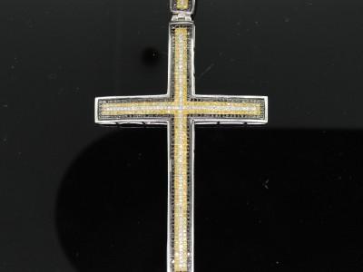 MENS WHITE GOLD FINISH DIAMONDS CROSS CHARM PENDANT