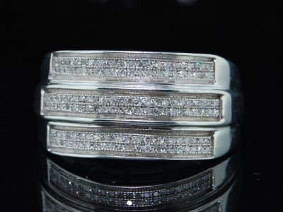 MENS WHITE GOLD FINISH PAVE DIAMOND WEDDING BAND RING