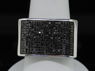 MENS WHITE GOLD FINISH 0.83 CT BLACK DIAMOND PINKY RING