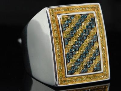 MENS WHITE GOLD FINISH 0.70 CT DIAMOND PINKY RING PAVE
