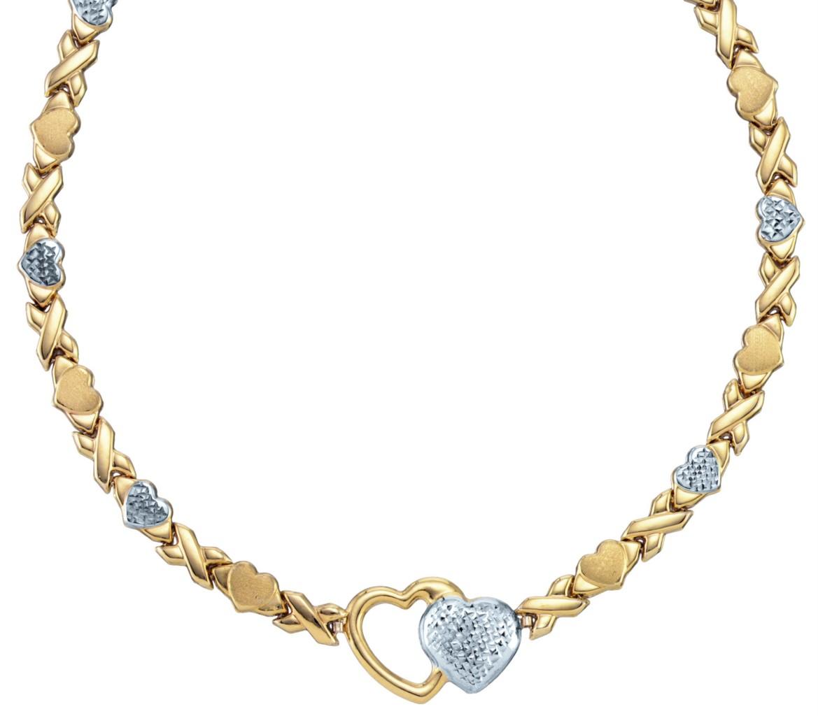YELLOW GOLD & SILVER HEART XOXO NECKLACE BRACELET SET