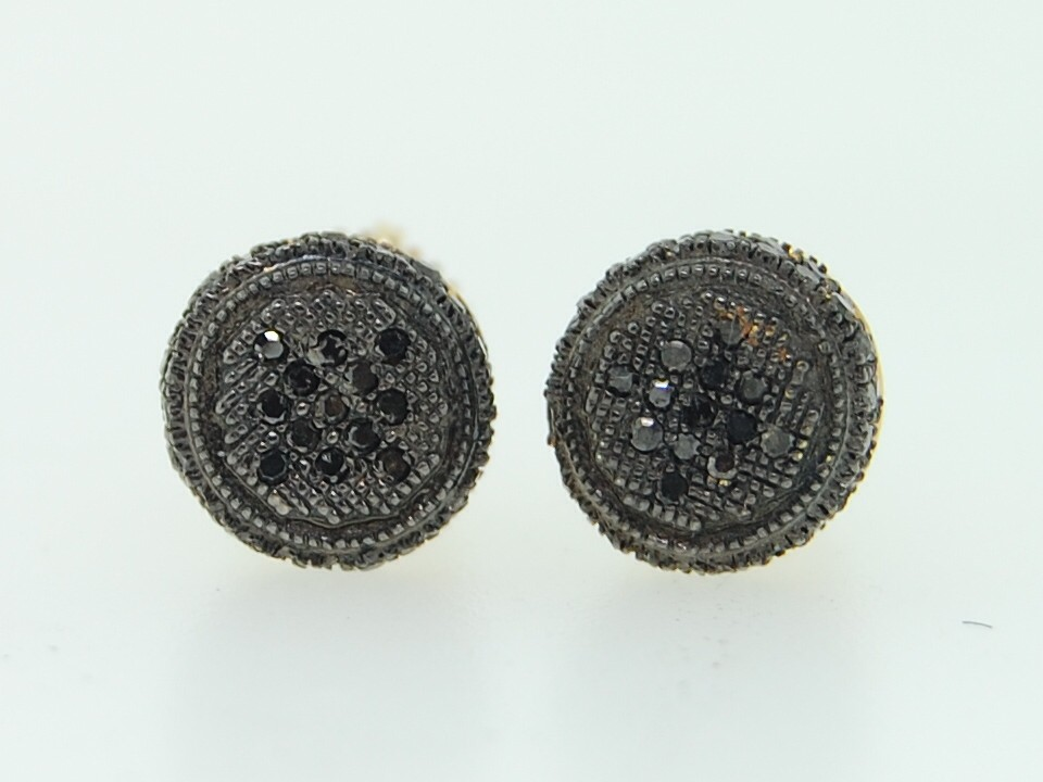 circle earrings for guys s 10k yellow gold black pave set 3d circle 640
