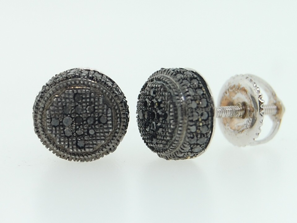 circle earrings for guys s 10k white gold pave set black 3d circle stud 3299