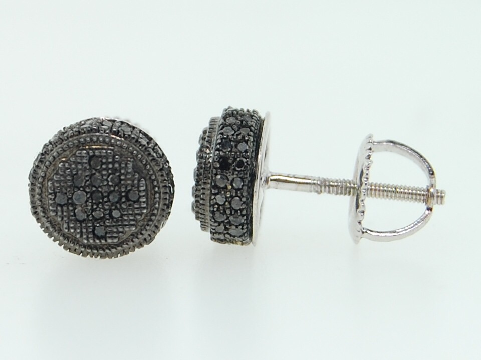 circle earrings for guys s 10k white gold pave set black 3d circle stud 7457