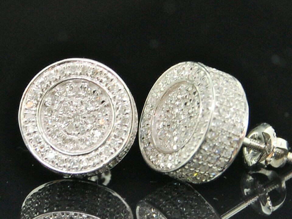 circle earrings for guys mens white gold 7ct 3d circle studs earrings ebay 1923