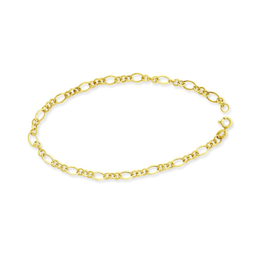 Gold Wrist Bracelet: 14K Yellow Gold 3.9 Mm Polished Light Weight Linked