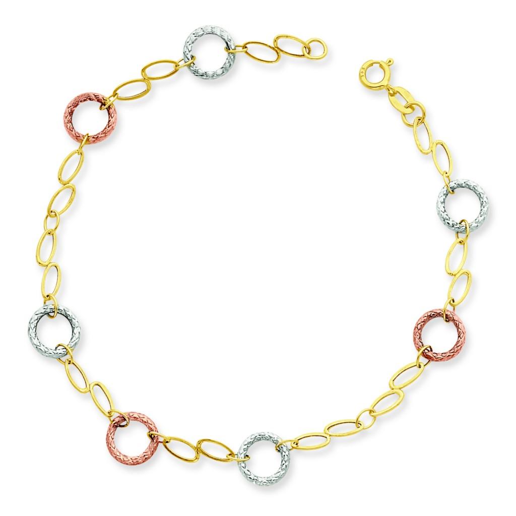 Gold Wrist Bracelet: 14K Tri Color Gold 7.65mm Textured Circle Light Weight
