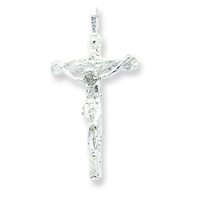 Crucifix Necklace Womens: Women's Ladies .925 Sterling Silver Polished Crucifix
