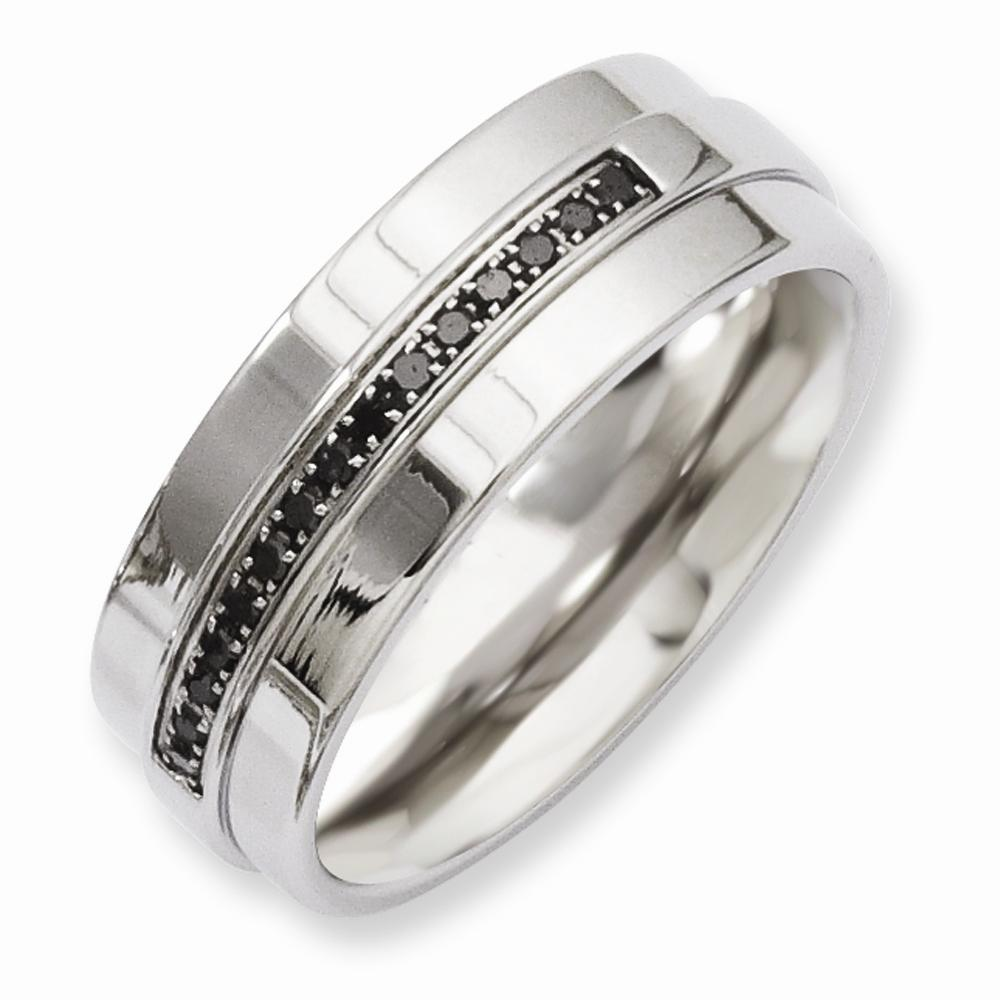 Stainless Steel Mens Wedding Band Ring 8mm: Chisel Stainless Steel Polished 0.15ct Black Diamond 8mm