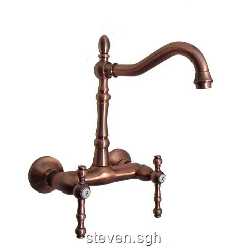 Classic Wall Mounted Antique Copper Kitchen Sink Faucet