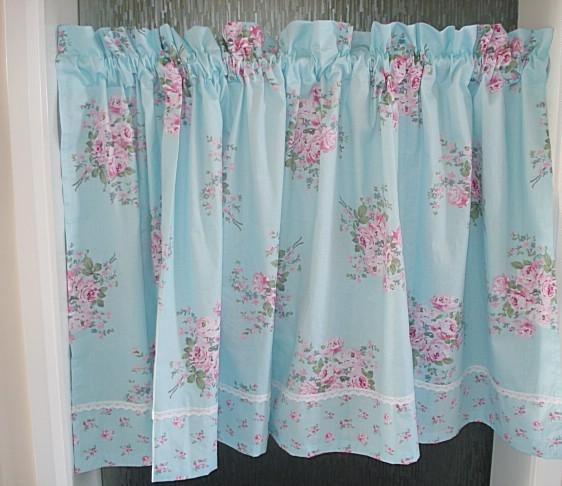 French Country Kitchen Curtains: Shabby French Country Rose Floral Blue Chic Cafe Kitchen