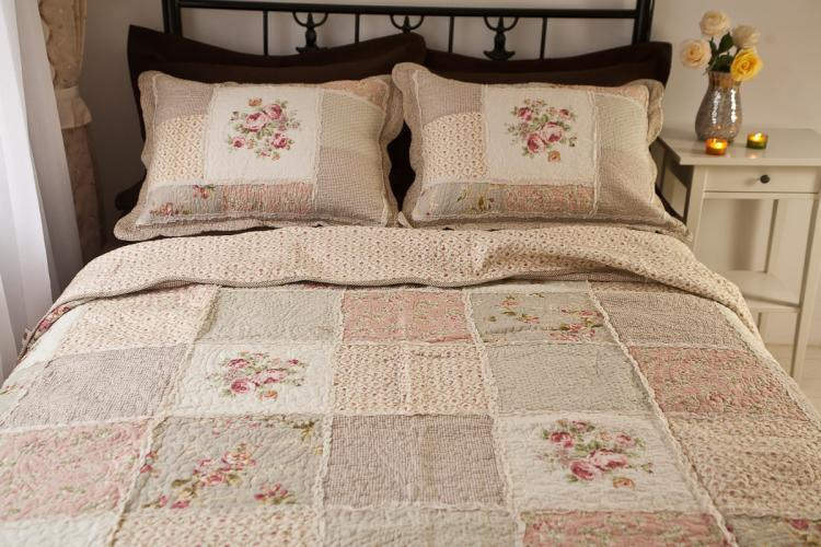 Queen Chic Shabby Patchwork Quilted Cotton Bedspread Quilt