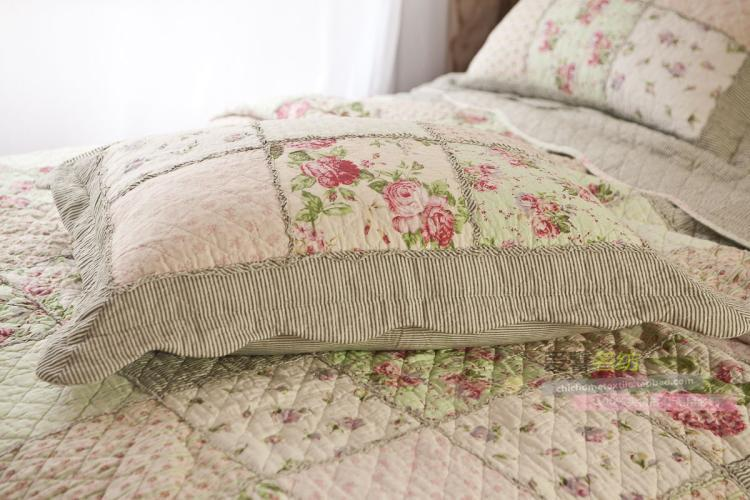Queen Country Floral Patchwork Quilted Cotton Coverlet