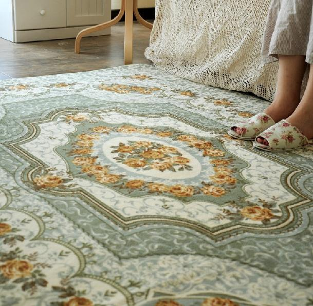 French Country Victorian Floral Green Living Bedroom Floor