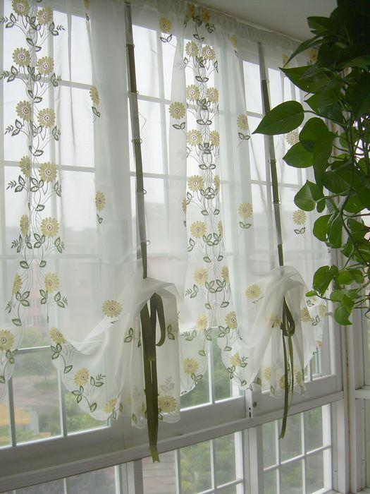 French Country Embroidered Balloon Shade Sheer Voile Cafe