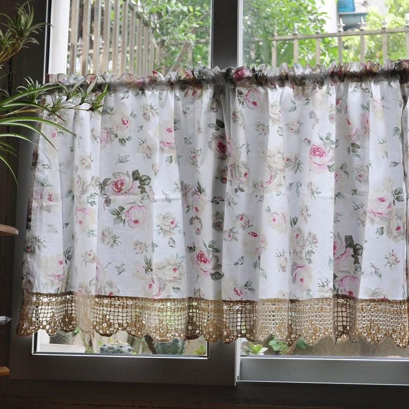 French Country Floral Rose Cafe Kitchen Curtain 007