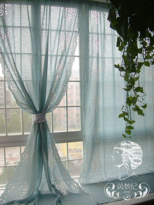 French Country Embroidered Balloon Shade Austrian Blue Cafe Kitchen Curtain 005 Ebay