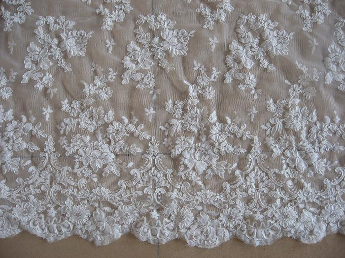 1 Yard Floral Embroidered White Lace Fabric Bridal Wedding