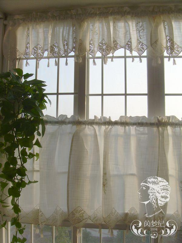 french country kitchen curtains set of country lace crochet cafe kitchen curtain 3606