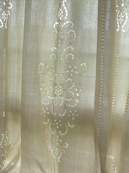 2 X Tab Top Cotton Linen Crochet Lace Beige Curtain Panel