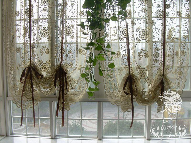 French Country Hand Crochet Lace Balloon Shade Sheer Cafe