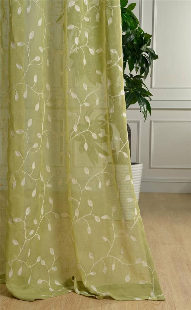 Green Floral Ring Top Curtains