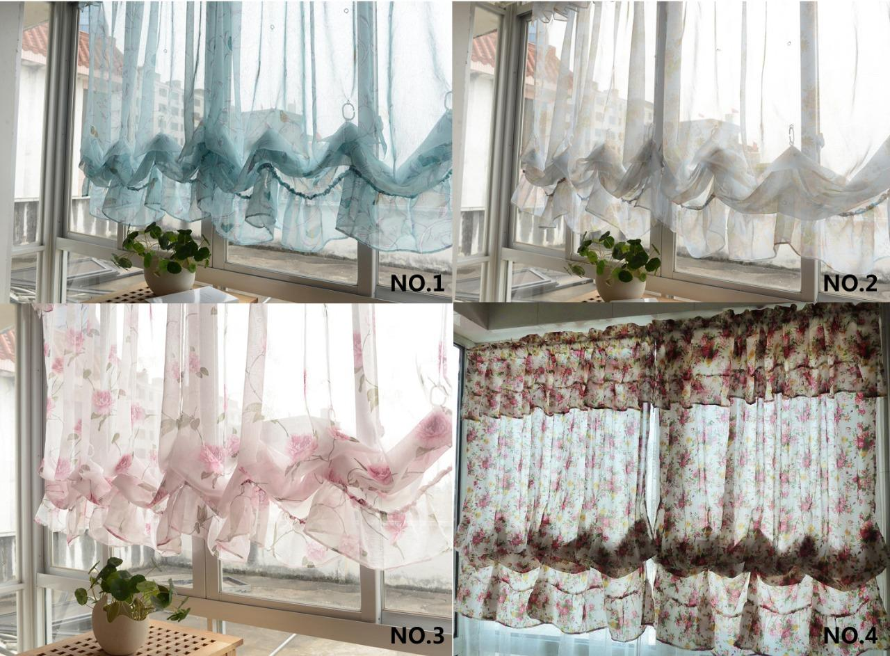 country kitchen valances country embroidered pull up balloon shade sheer 2922