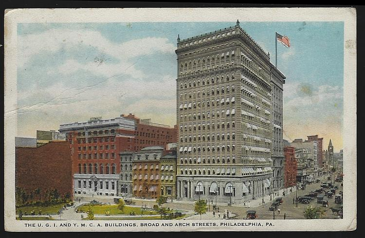 POSTCARD - U.G. I. And Y.M. C.A. Buildings, Broad and Arch Streets, Philadelphia, Pennsylvania