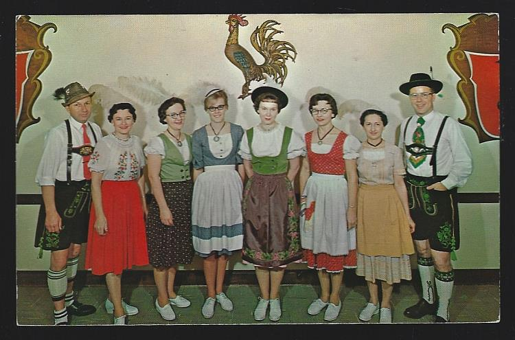 FRANKENMUTH BAVARIAN INN, EMPLOYEES IN AUTHENTIC BAVARIAN COSTUMES, FRANKENMUTH, MICHIGAN, Postcard
