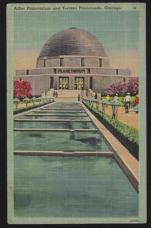ADLER PLANETARIUM AND TERRAZO PROMENADE, CHICAGO, ILLINOIS, Postcard