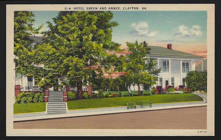 HOTEL GREEN AND ANNEX, CLAYTON, GEORGIA, Postcard