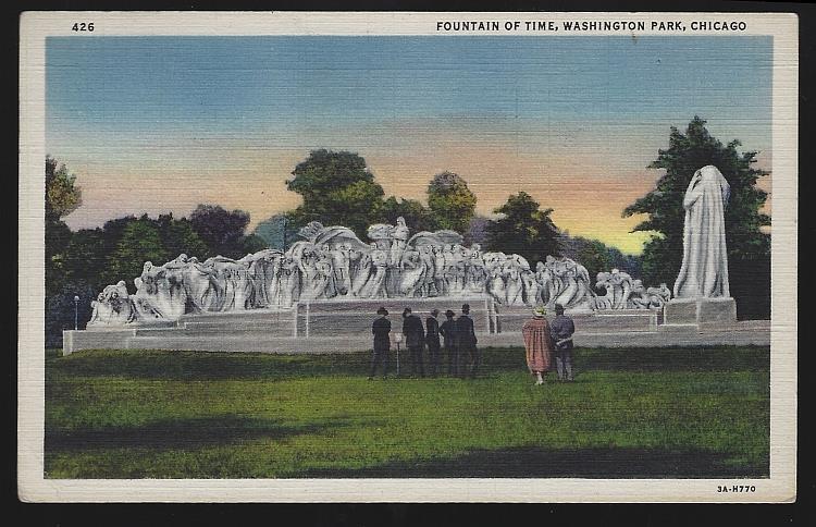 FOUNTAIN OF TIME, WASHINGTON PARK, CHICAGO, ILLINOIS, Postcard