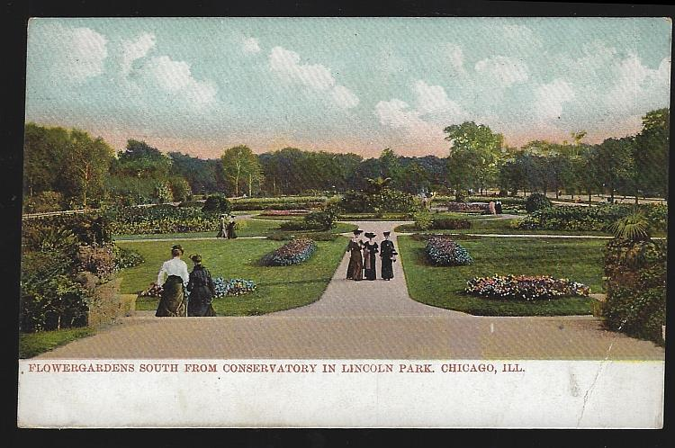 FLOWERGRADENS SOUTH FROM CONSERVATORY IN LINCOLN PARK, CHICAGO, ILLINOIS, Postcard