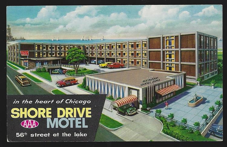 SHORE DRIVE MOTEL, CHICAGO, ILLINOIS, Postcard