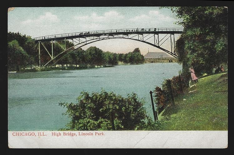 HIGH BRIDGE, LINCOLN PARK, CHICAGO, ILLINOIS, Postcard