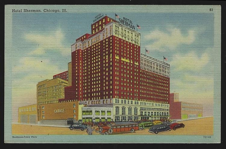 HOTEL SHERMAN, CHICAGO, ILLINOIS, Postcard