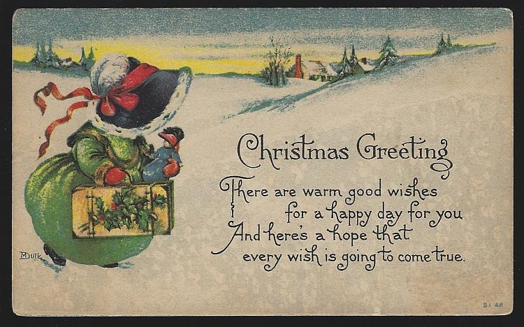 CHRISTMAS GREETING POSTCARD YOUNG LADY WALKING THROUGH SNOW, Postcard